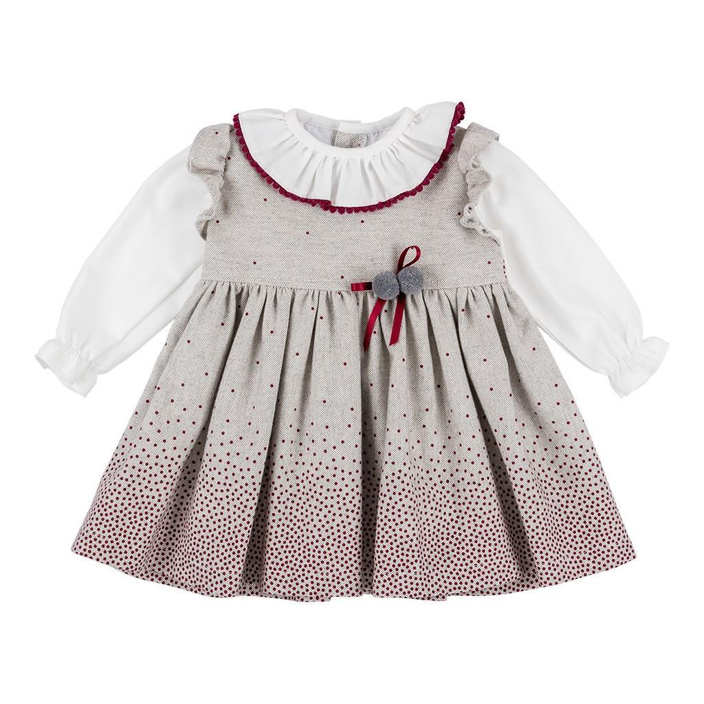 Vestido de niña en topitos rojos
