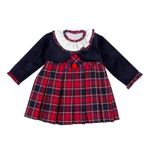 Vestido de niña con chaquetita figurada en marino