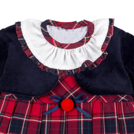 Vestido de niña con chaquetita figurada en marino [1]