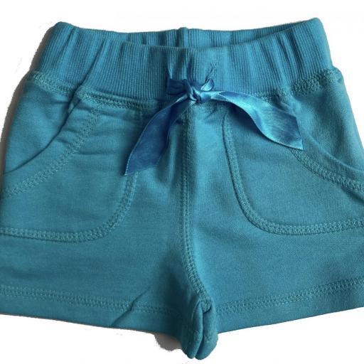 Pantalón corto de niña azul