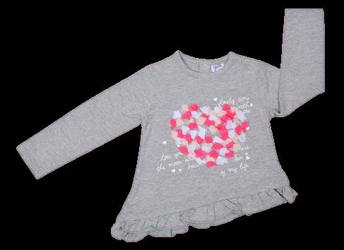 Camiseta de niña en gris Hearts