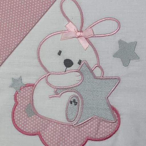 Sábana mini cuna 50 x 80 en rosa Conejita [2]