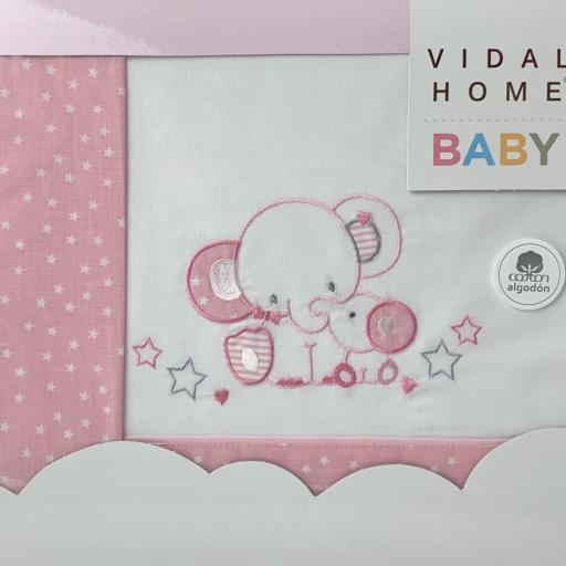 Sábana mini cuna 50 x 80 en rosa Elefante [1]