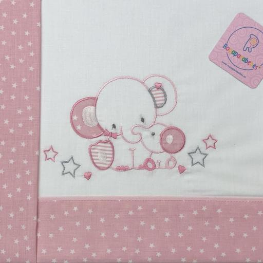 Sábana cuna 60 x 120 en rosa Elefante [2]