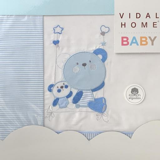 Sábana cuna 60 x 120 en azul Bears [1]
