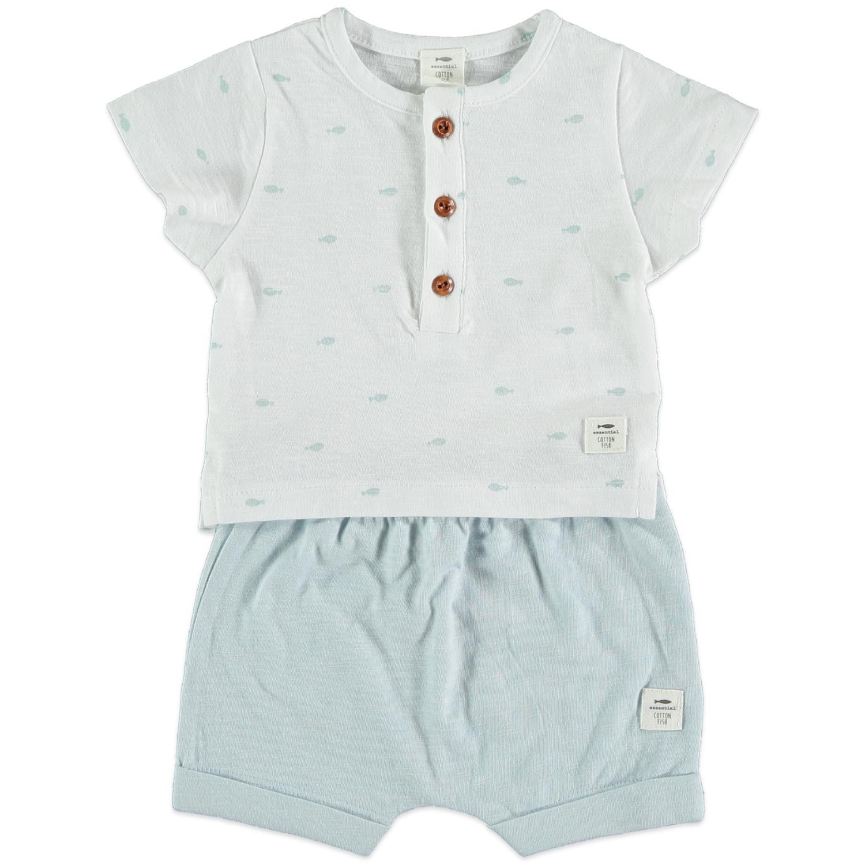 Conjunto algodón azul grisáceo