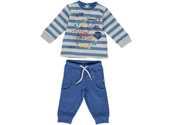 Conjunto chandal afelpado azul para bebé niño City