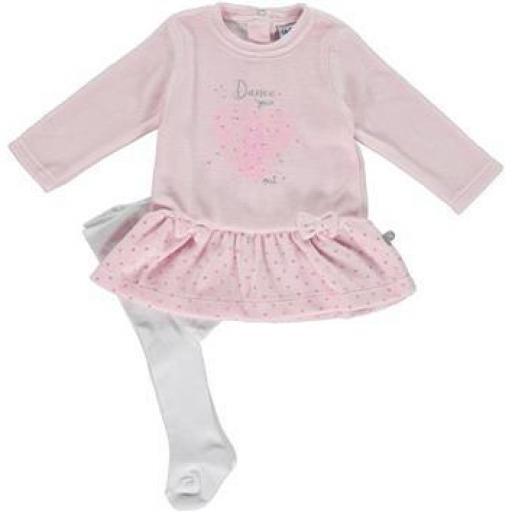 Vestido con leotardos tundosado en rosa para niña Dance