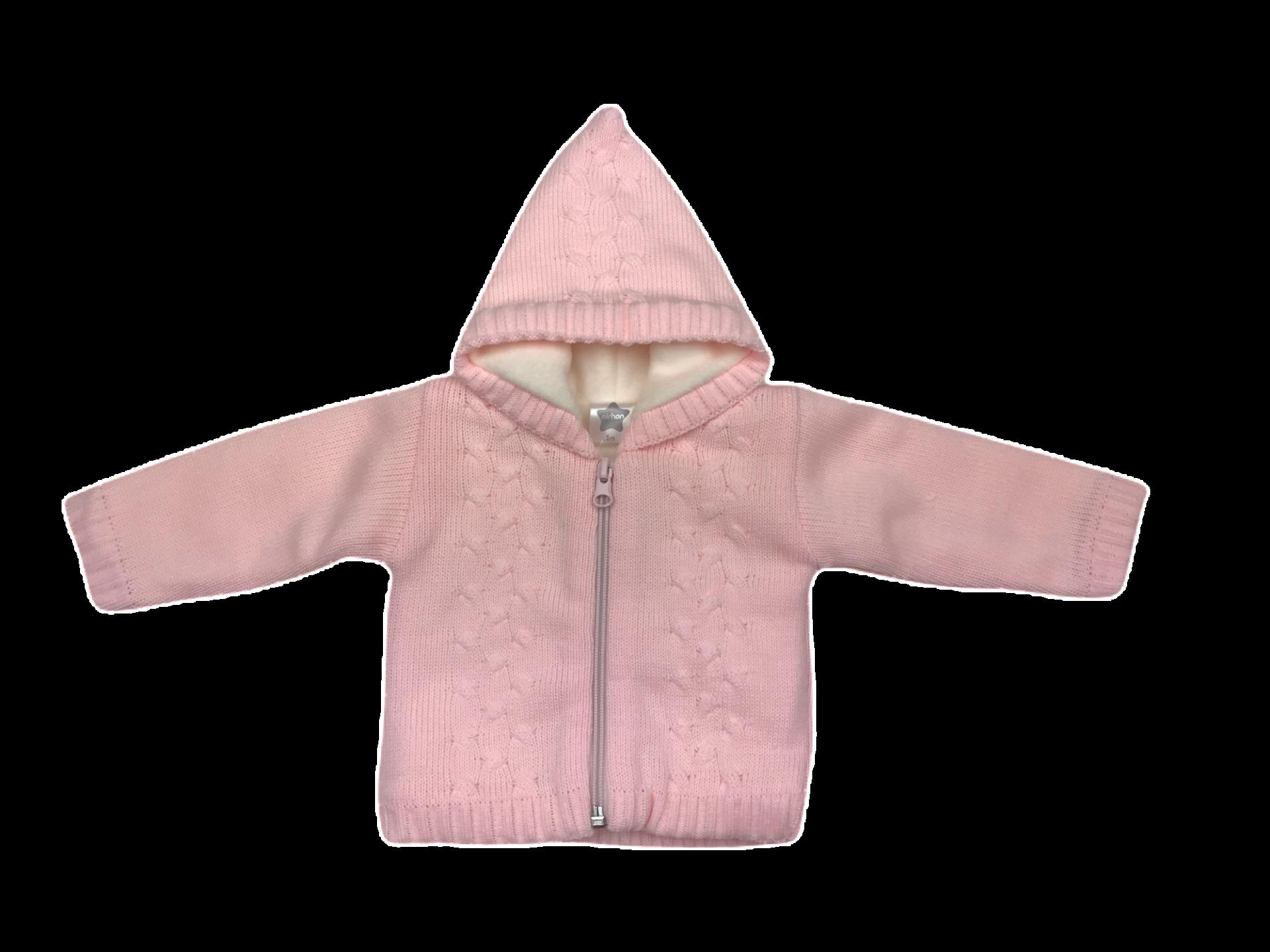 Chaqueta-Abrigo de punto con forro polar en rosa