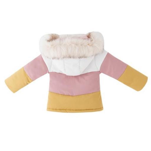 Abrigo acolchado para niña tricolor [1]