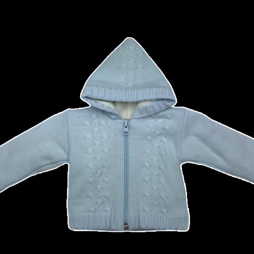 Chaqueta-Abrigo de punto con forro polar en celeste