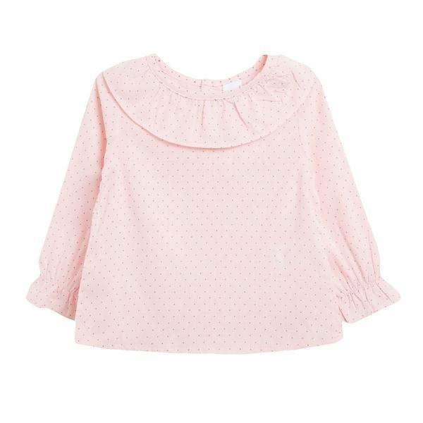 Blusa rosa con puntitos negros