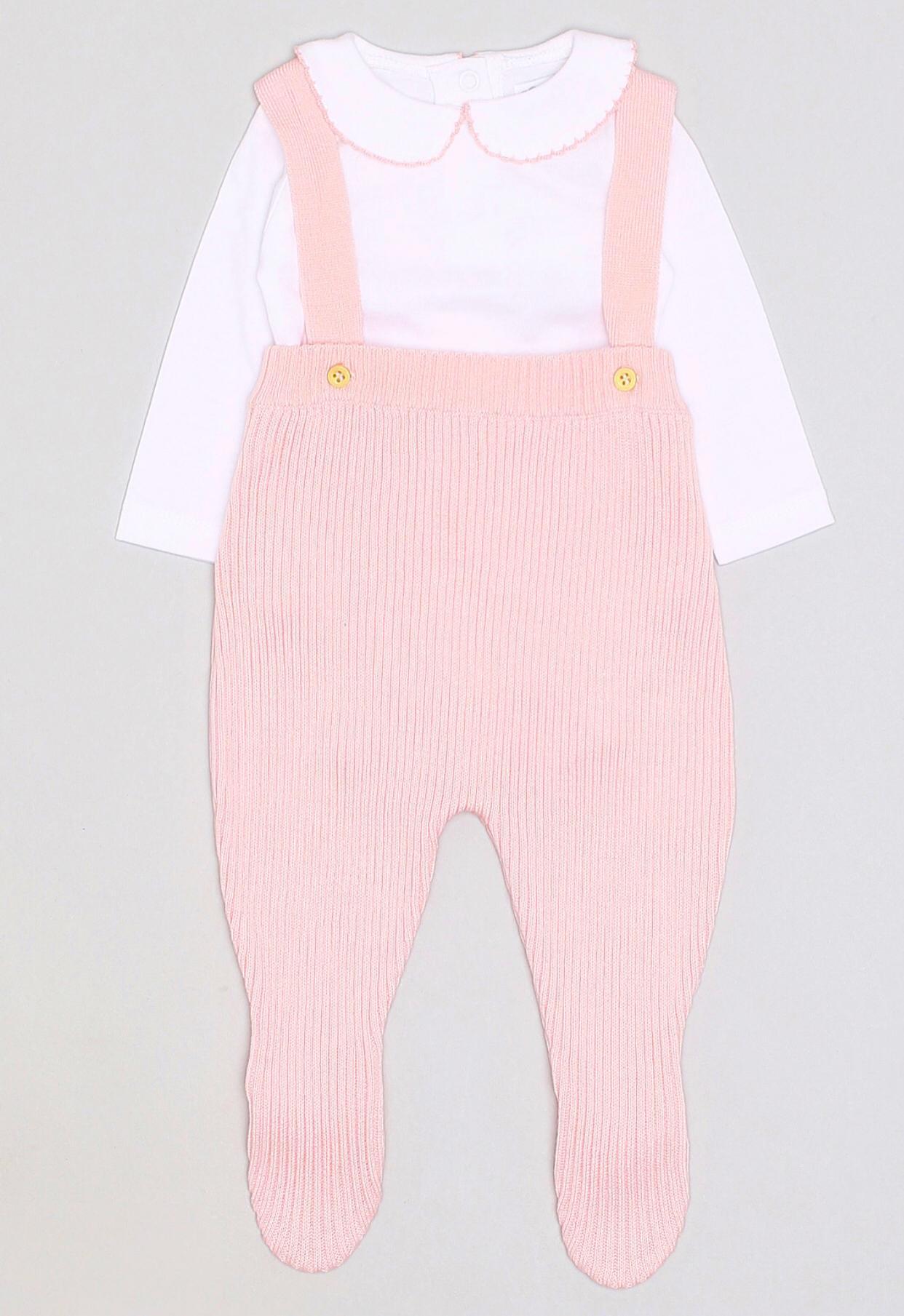 Ranita de punto con body en rosa para niña