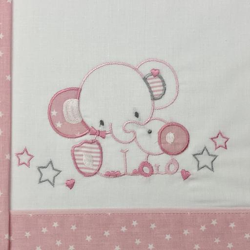 Sábana cuna 60 x 120 en rosa Elefante [1]
