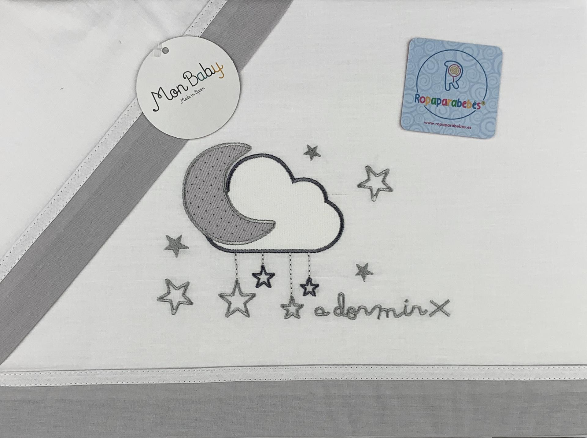 Sábana cuna 60 x 120 en gris Luna