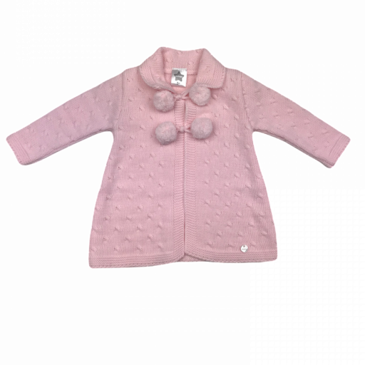 Chaqueta larga para niña en punto rosa