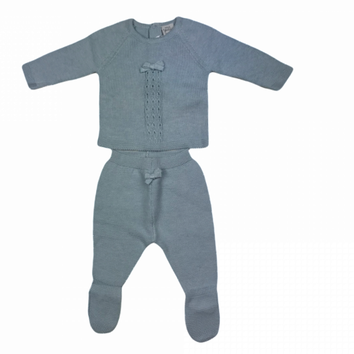 Conjunto primera puesta niño polaina 2 piezas en algodón tricot Lazo