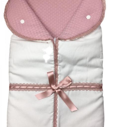 Saco lencero con puntilla para cochecito en rosa-maquillaje