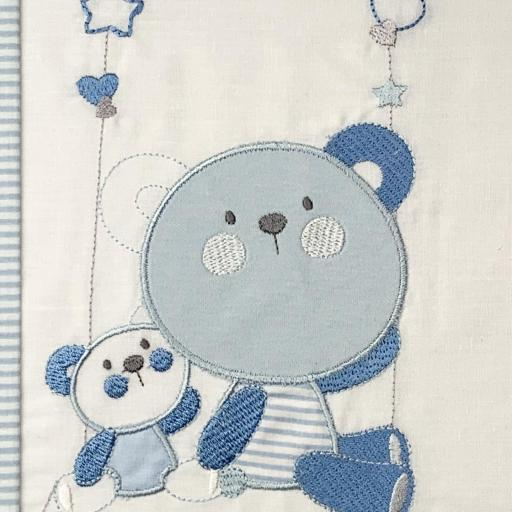 Sábana cuna 60 x 120 en azul Bears [2]