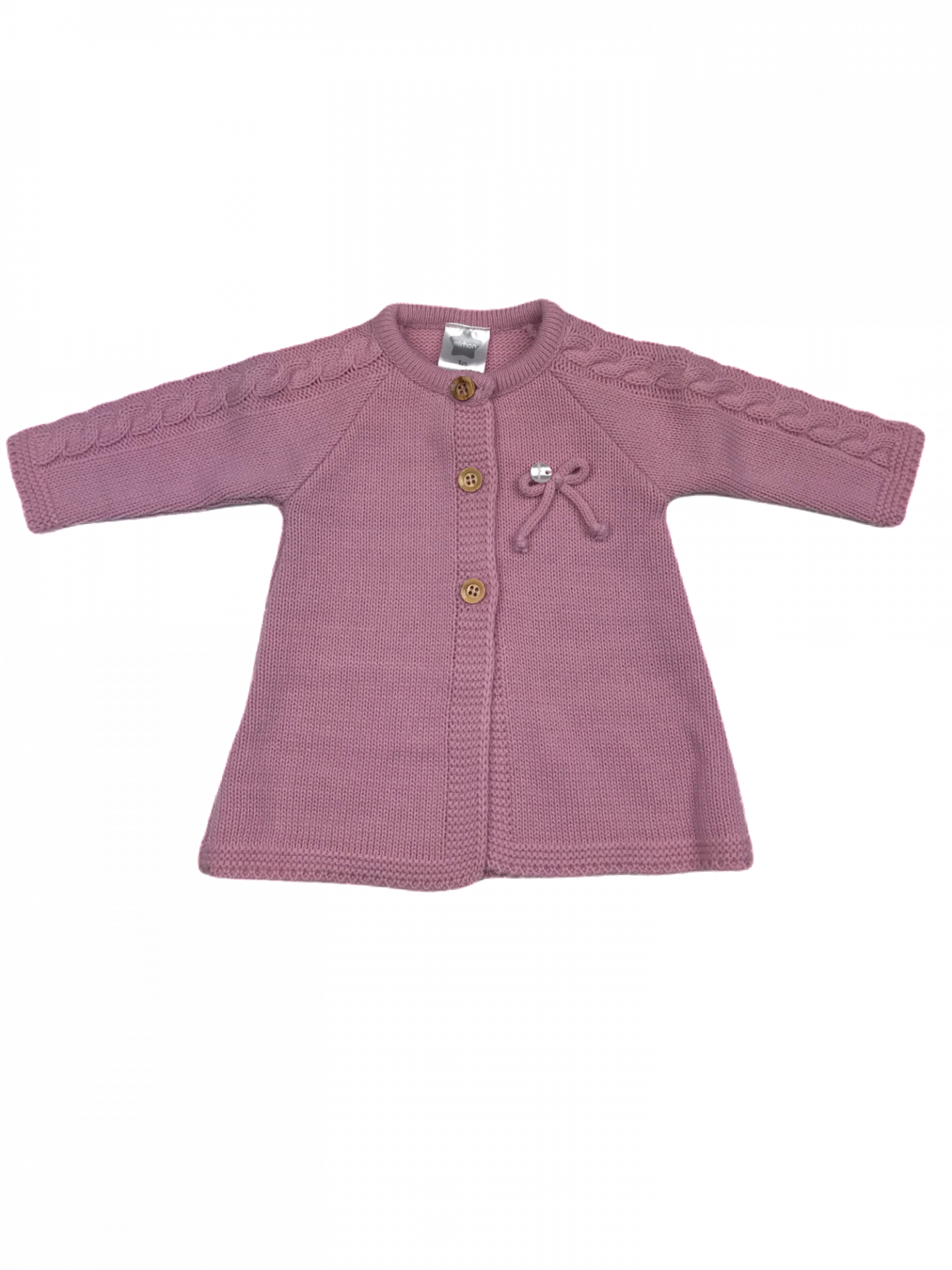 Chaqueta con lazo para niña en punto en rosa malva
