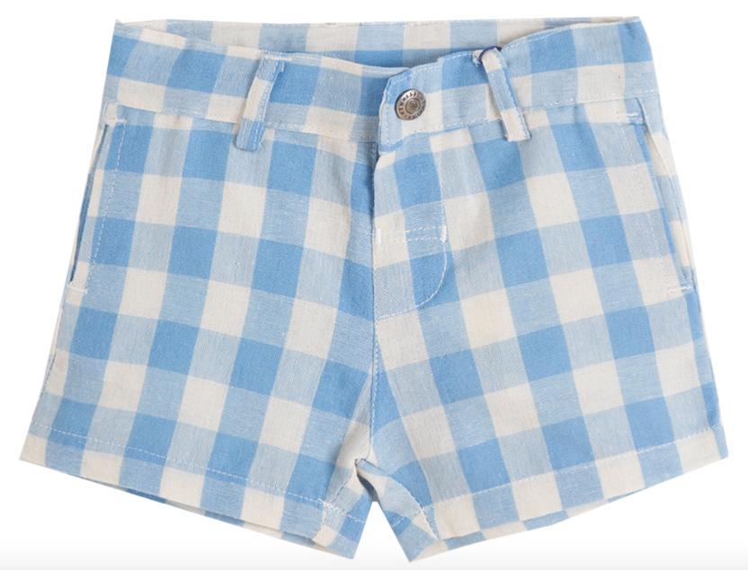 Short de niño de cuadritos blancos y azules