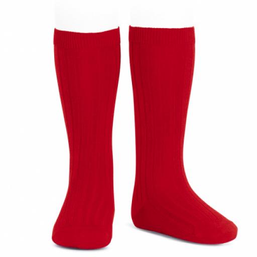 Calcetín alto canalé condor unisex Rojo
