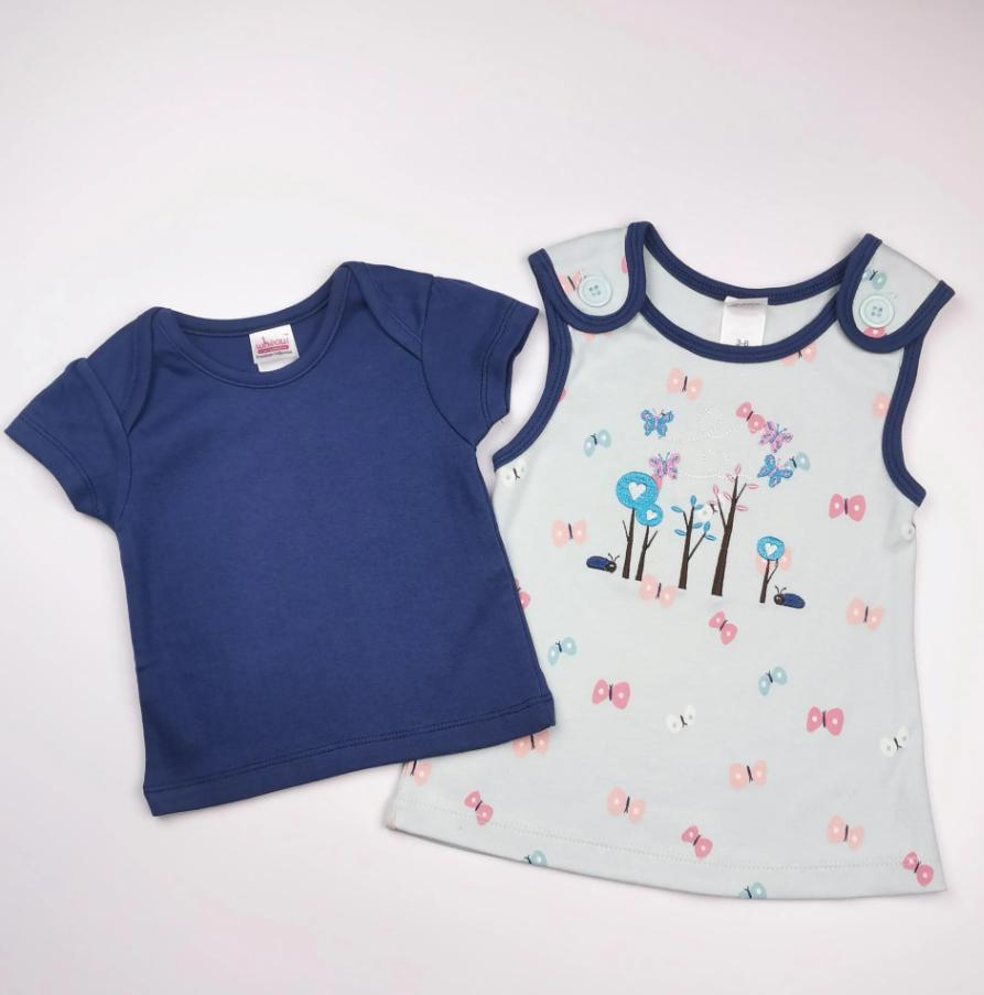 Vestido y camiseta a juego en tonos azules (algodón orgánico)