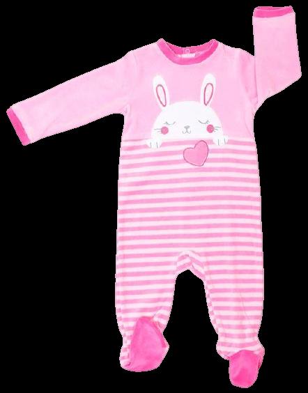 Pelele tundosado para niña en rosa Bunny
