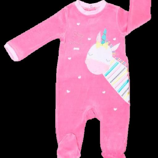Pelele tundosado para niña en fucsia Unicorn [0]