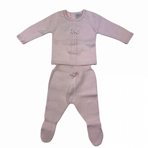 Conjunto primera puesta niña polaina 2 piezas en algodón tricot Lazo
