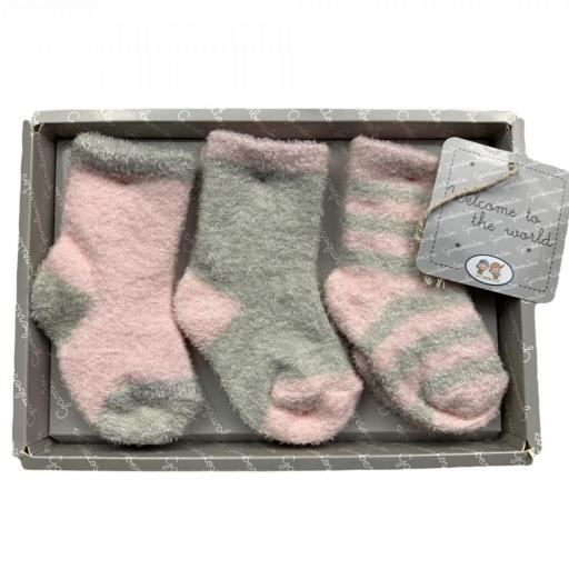 Pack de 3 calcetines de rizo en rosa o azul