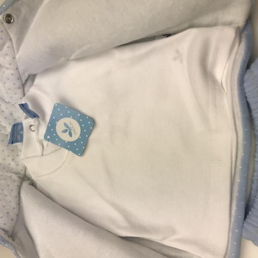 Conjunto 3 piezas acolchado bebé en celeste Ositos [1]