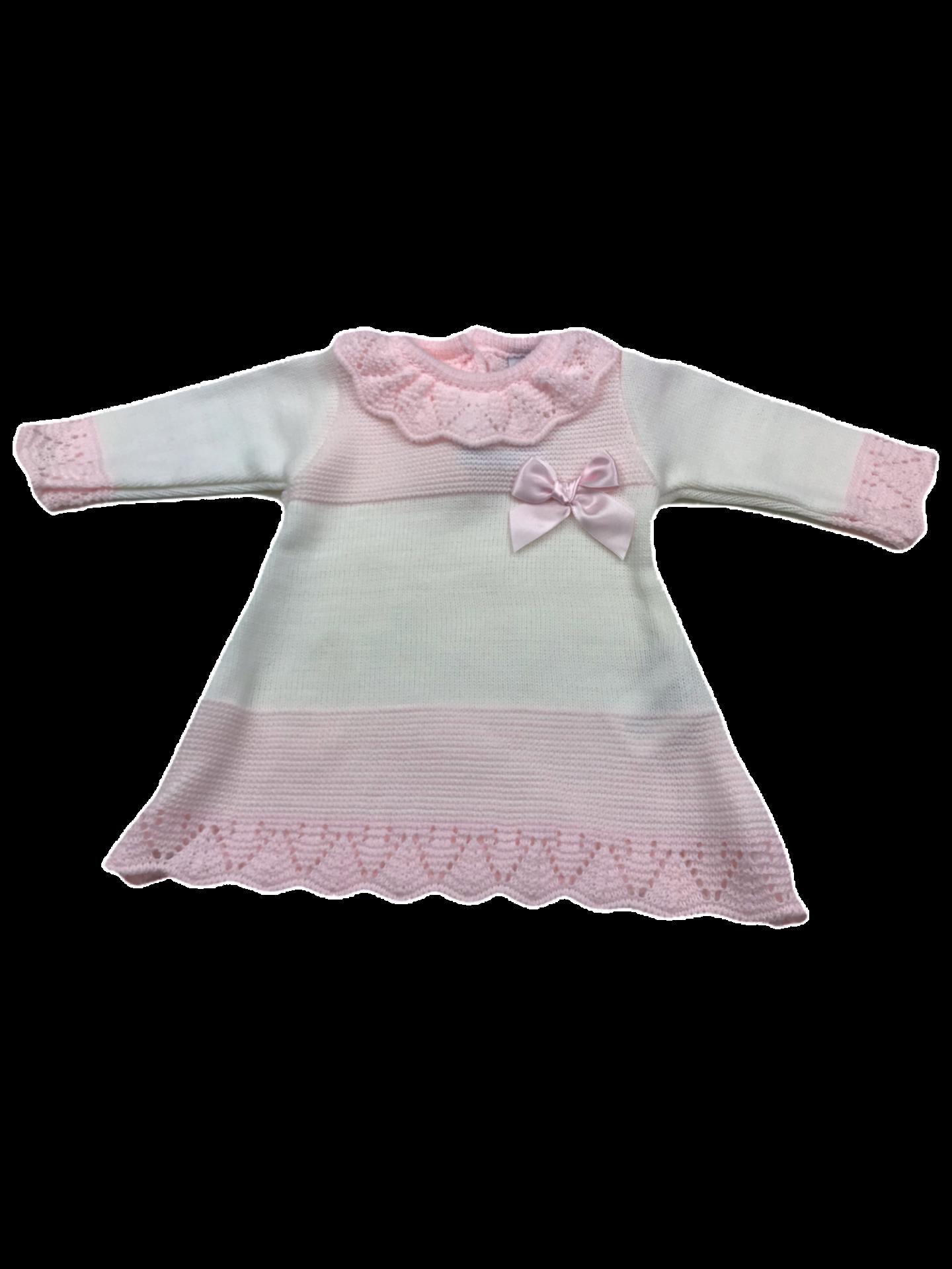 Vestido de punto de primera puesta en rosa y blanco