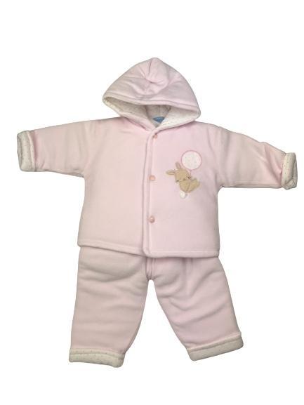 Conjunto 3 piezas acolchado bebé en rosa Conejito