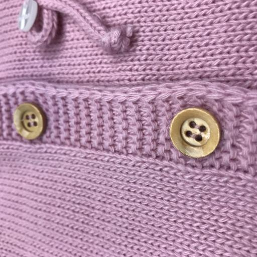 Chaqueta con lazo para niña en punto en rosa malva [1]