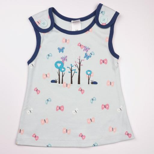 Vestido y camiseta a juego en tonos azules (algodón orgánico) [1]