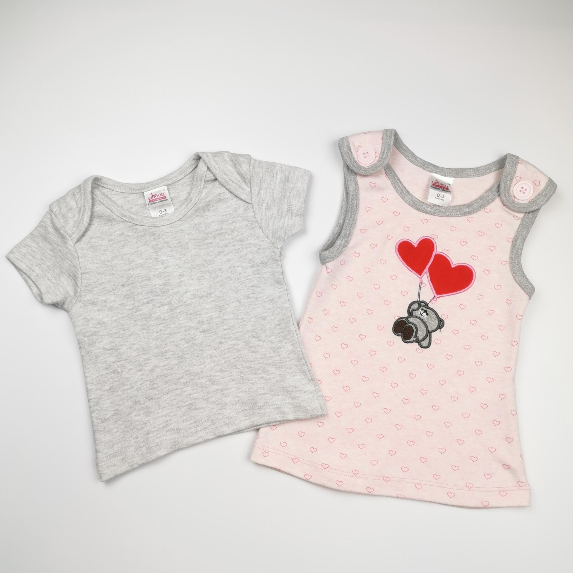 Vestido y camiseta a juego en rosa y gris (algodón orgánico)