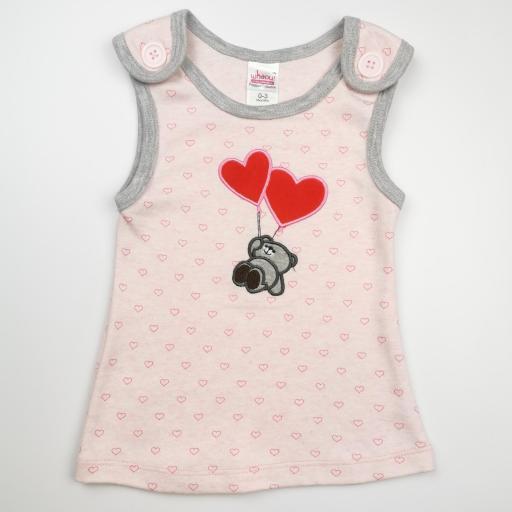 Vestido y camiseta a juego en rosa y gris (algodón orgánico) [1]