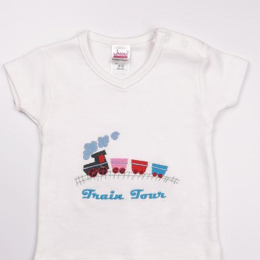 Conjunto niño blanco y azul (algodón orgánico) [1]