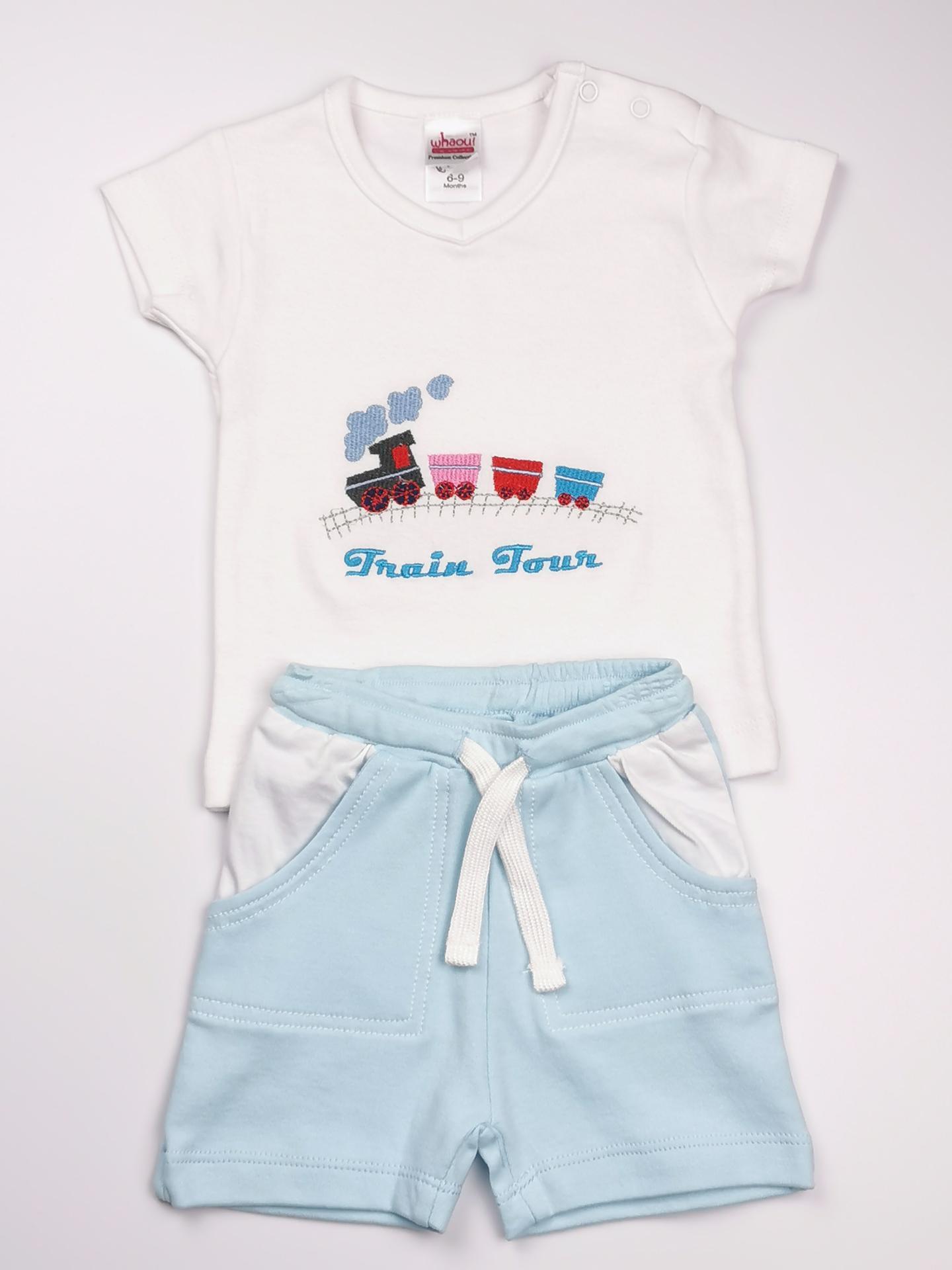 Conjunto niño blanco y azul (algodón orgánico)