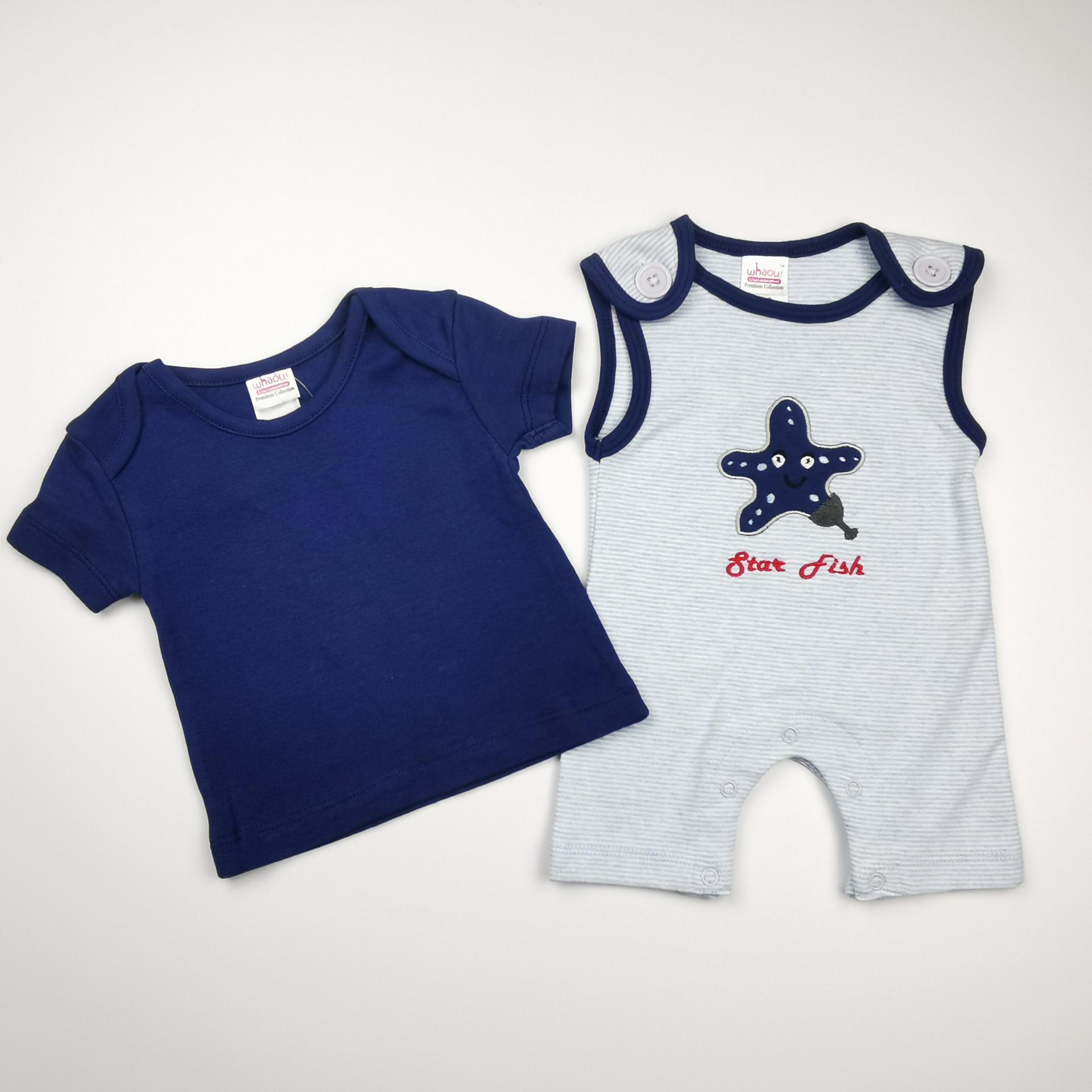 Pelele con camiseta a juego azul y blanco (algodón orgánico)