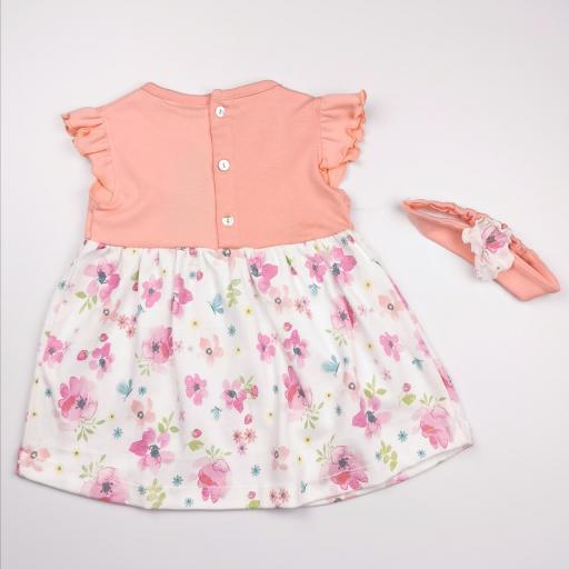 Vestido con banda de cabeza a juego en rosa y blanco (algodón orgánico) [1]