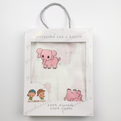 Muselina de elefantes rosas [1]