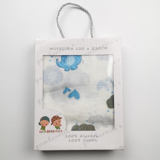 Muselina de corazones y elefantes azules [1]