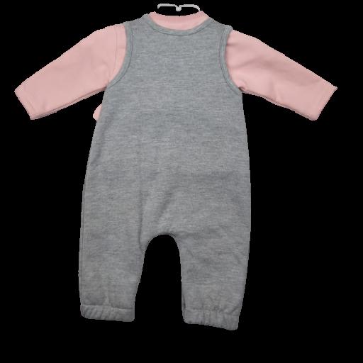 Conjunto niña peto afelpado en gris con camiseta [1]