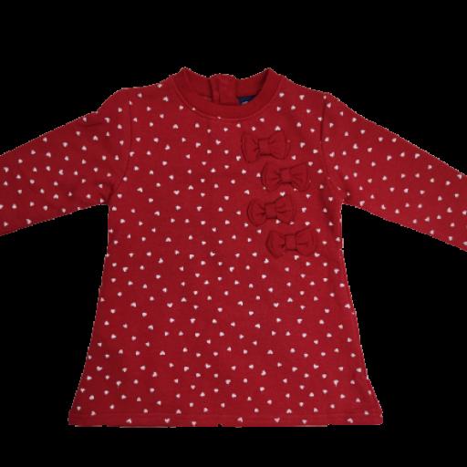 Vestido afelpado de niña en rojo con corazones.