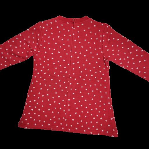Vestido afelpado de niña en rojo con corazones. [1]