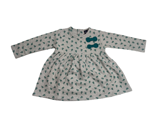 Vestido afelpado de niña en gris con hojas verdes