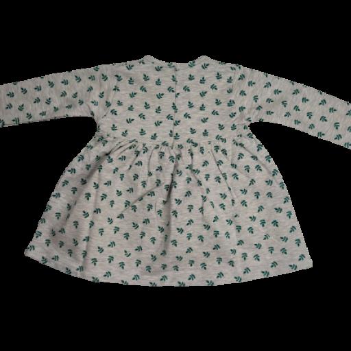 Vestido afelpado de niña en gris con hojas verdes [1]