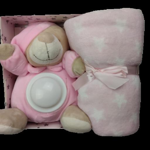 Manta + Peluche con luz en rosa